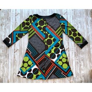 EvoVorro Tops - EvoVorro retro polka dot print tunic 3/4 sleeves